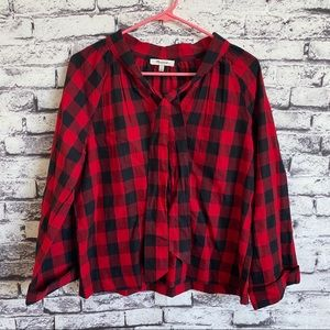Madewell Tie-Neck Popover Shirt in Buffalo